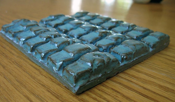 Car Tile GREEN Stoneware Ceramic Parking Lot Square 5 1/2 Inch