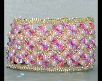 SALE - Rosaline and Pearls  - Bracelet with Swarovski crystals,pearls,seed beads and Sterling silver