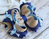 School Uniform hair bow. Navy and khaki and ltl blue. Back to school  Stacked Boutique Bow