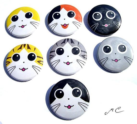 Cat Face Button Set (7 buttons)