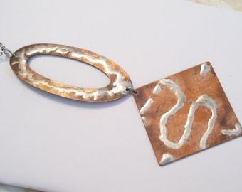 Huge Vintage Silver Solder and Copper Plated Hand Made Modernist Geometric Pendant Necklace
