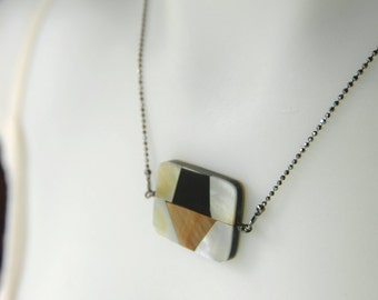 Art Deco Inlay Pendant Necklace on Sparkly Chain - Deco II.