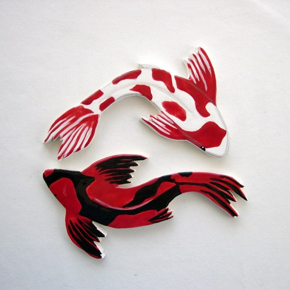 Koi Mosaic tiles ceramic fish hand painted art Tiles for Mosaics by ArtTileMosaics supply