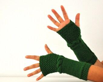 Gloves Fingerless Gloves Armwarmers Emerald Green Long Wrist Warmers Hand Knit Warm Cozy