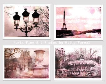 Paris Photography, Romantic Paris Print Set, Paris Eiffel Tower Pink Decor, Dreamy Paris Pink Shabby Chic Photographs, Set of 4 Paris Prints