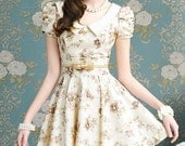 2012 New Women's Summer Champagne-Colored Bubble Short-Sleeved Dress With Bowknot Decoration And Big Hem Design -14886435150
