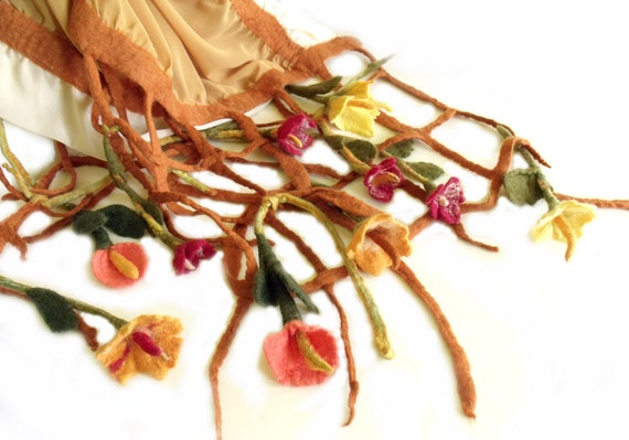 Nuno felt scarf chiffon 3D felted flowers grid fringe autumn wedding