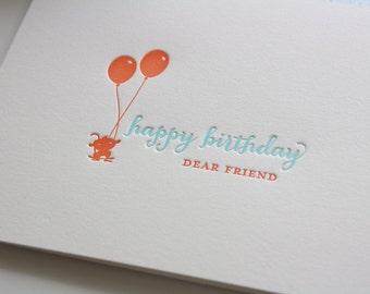 Letterpress Birthday Greeting Card - Balloon Monkey - Birthday Card