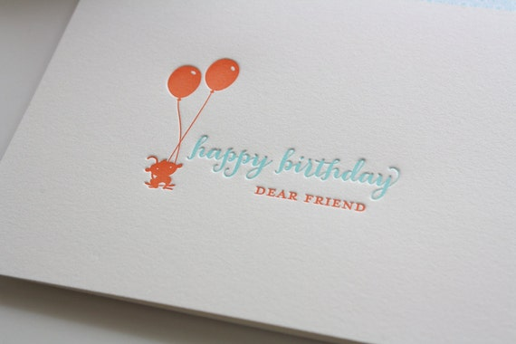 Letterpress Birthday Greeting Card - Balloon Monkey - Birthday Card