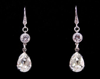 Wedding Jewelry Bridal Jewelry Crystal Long Teardrop Earrings Caroline