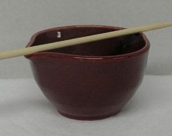 Small Dark Rose Pink Porcelain Mixing or Rice Bowl