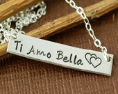 Personalized Necklace, Sterling Silver Rectangular Bar, Mother Jewelry, Hand Stamped Jewelry, Ti Amo Bella