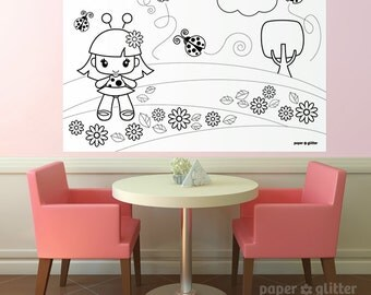 Ladybug Party Printable Decoration or Coloring Sheet Backdrop Printable Wall Decor  3 x 4 feet - Editable Text Printable PDF 1066