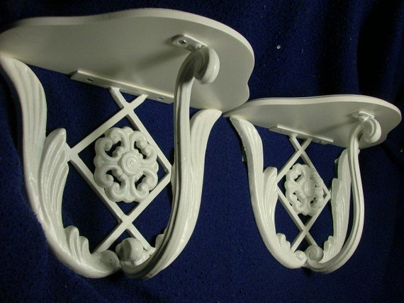 These Are 2 Vintage METAL Frame Wall Shelf SCONCES Each are White in Color Perfect for ones Shabby Cottage Chic Decor
