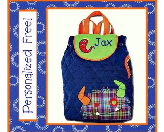SALE- Personalized Kindergarten/ Preschool MONSTER Quilted Backpack- Stephen Joseph