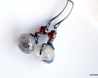 Black Tourmalated Quartz  Earrings , Garnet  Earrings Oxidized Sterling Silver Earrings  Gemstone earrings Black Rutilated Quartz Earrings