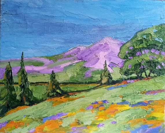 Free Shipping Original Painting Landscape 11x14 California OAK GROVE WILDFLOWERS Lynne French Impressionist Art