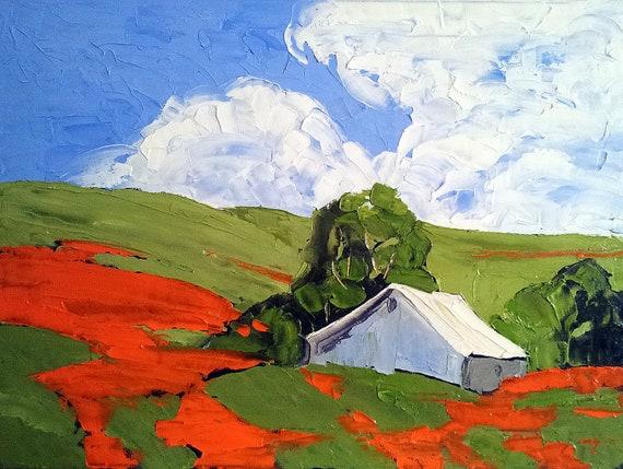 Impressionist Plein Air Landscape CALIFORNIA POPPIES & BARN Lynne French o/c Art 18 x 24