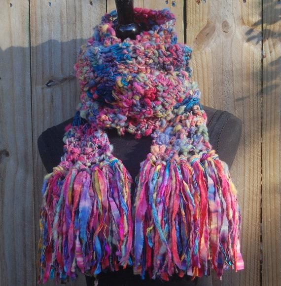 Long Handmade Multi Color Crochet One Of A Kind Scarf