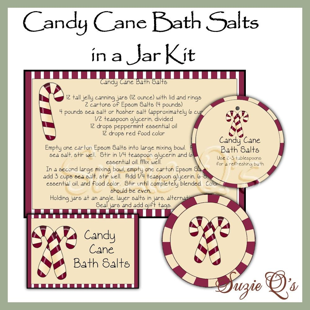 Make your own Candy Cane Bath Salts in a Jar Labels Tag and