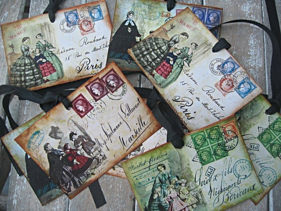 Vintage french fashion postcard tags, set of 8