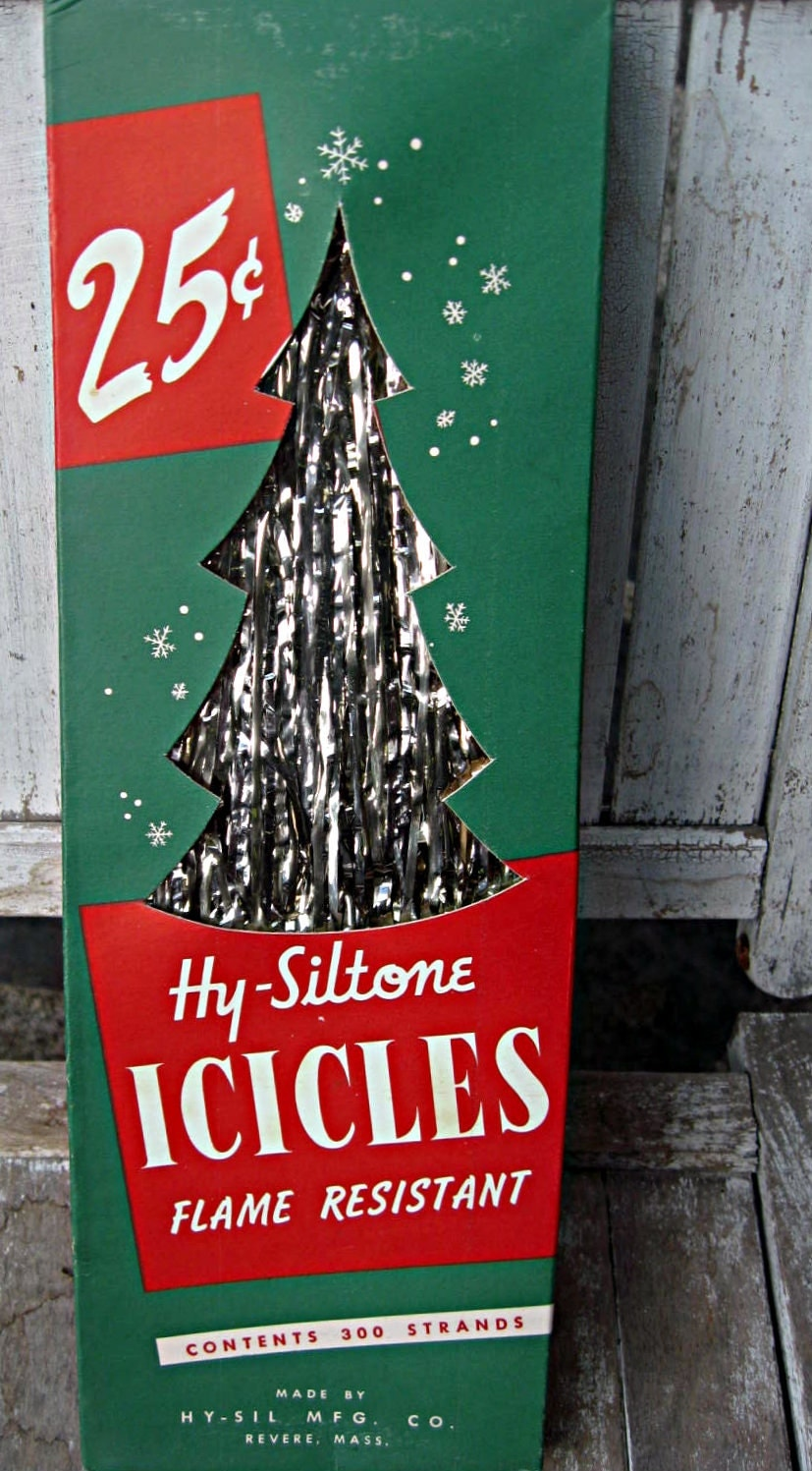 Vintage box of christmas xmas tree icicles unused nos retro