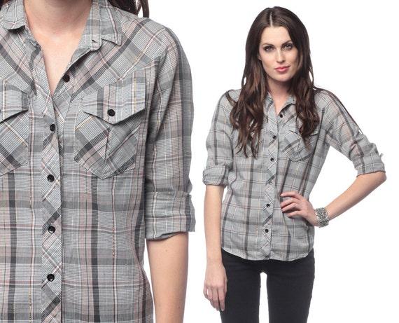Metallic plaid shirt 70s 80s grey gold button up checkered for Grey plaid shirt womens