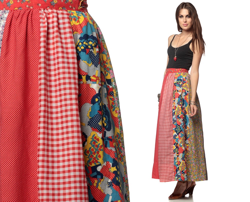 hippie maxi skirt 70s patchwork wrap 1970s boho high by