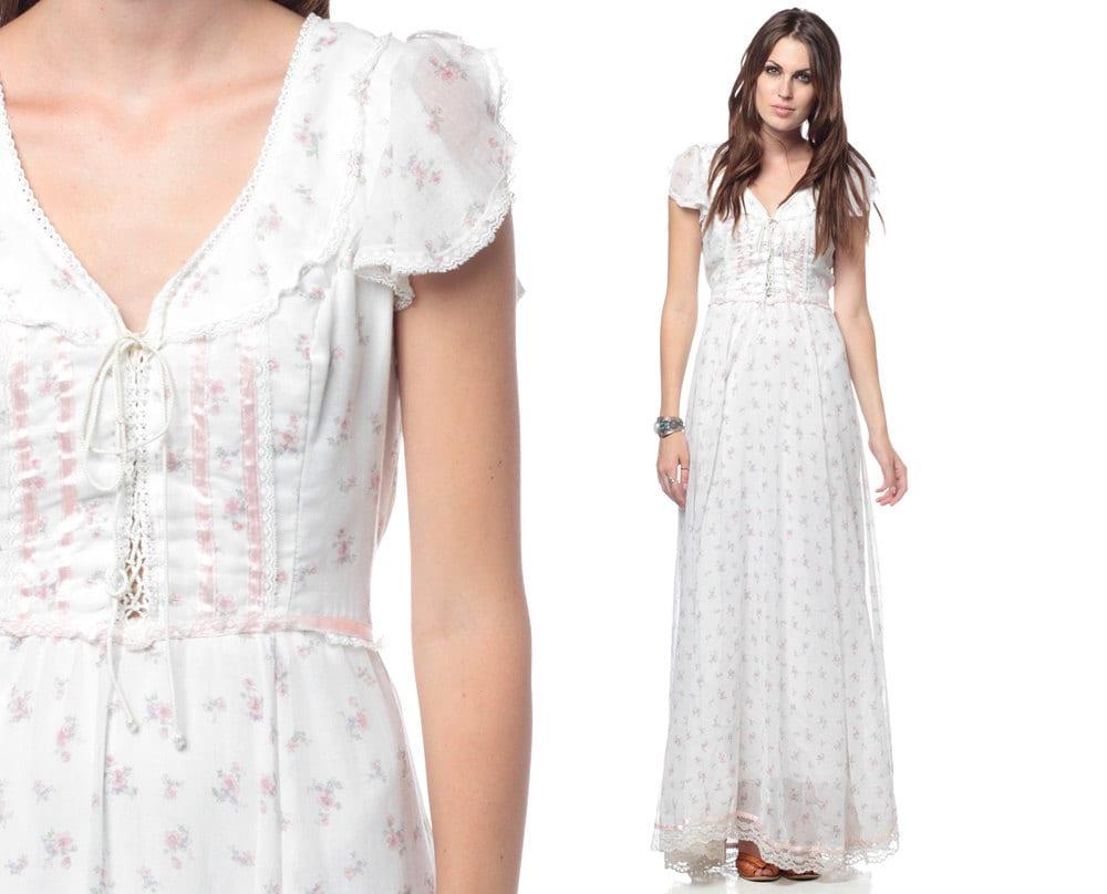 Gunne Sax Dress White Floral Maxi 70s Lace Up Corset Boho