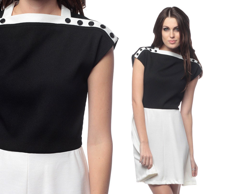 Black and white dress 60s 70s mini color block mod by shopexile