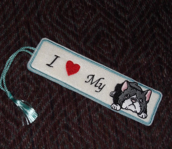 I heart My BOSTON TERRIER Embroidered bookmark - Ready to ship