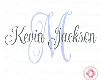 Initial and Name Vinyl Wall Decal - Elegant Monogram Decal for Baby Nursery Girl or Boy Wedding Master Bedroom Family Name IN0043