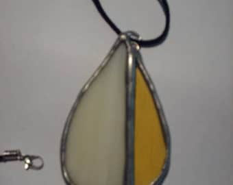 Stained Glass Ivory and Gold Teardrop Pendant