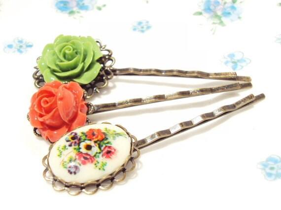 Flower Hair Pin Set - Flower Bobby Pins - Whimsical - Bridal - Bridesmaid - Rose Hair Pins - Vintage Limoges Hair Pin - Autumn Wedding