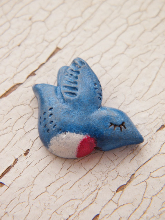 Little Flying Bluebird bead - Sleepy Woodland Critters (ready to ship)
