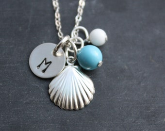 Silver Seashell Necklace With Personalized Custom Sterling Initial Charm