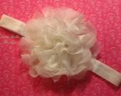 Ivory Lace & Chiffon Flower Headband - Large Lace Flower, Christening Headband  -  Baby Headband Newborn Headband Toddler Headband