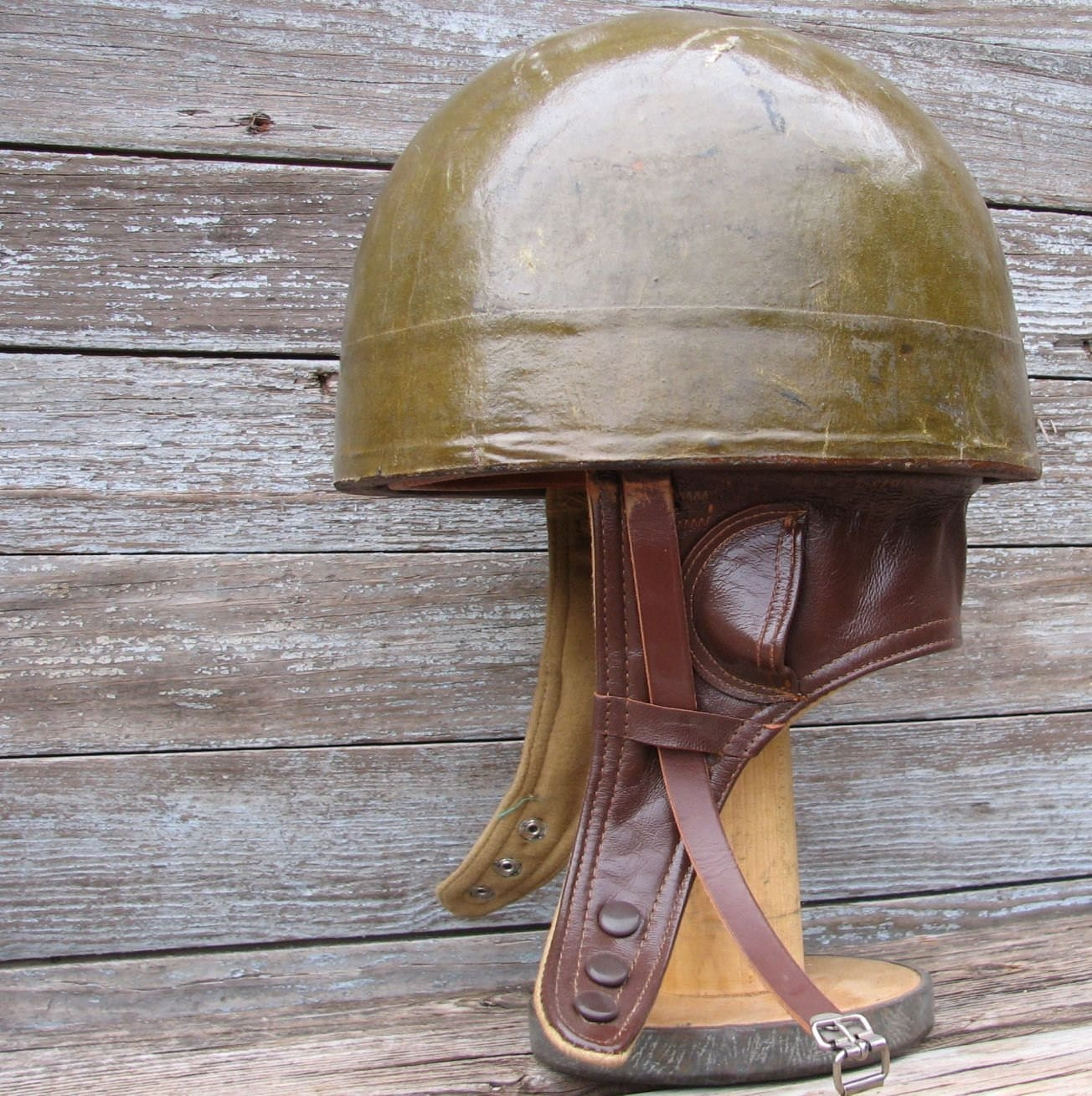 Vintage Belgian Army Motorcycle Dispatch Helmet Sz 58