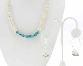 White and Blue Turquoise Jewelry Set - Necklace and Earrings