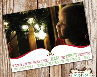 DIY Printable Christmas Party Invitation - Merry and Bright Christmas Card....by Maxim Creative Invites