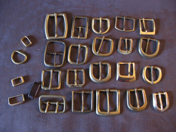 Reserved for Sara - Used Belt Buckles - Gold/Brass & silvertone - Lot of 40