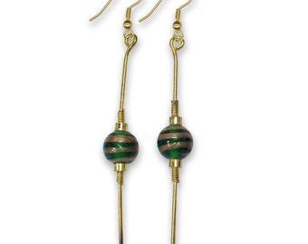Vintage Emerald Green Egyptian Style Bohemain Boho Art Glass Earrings