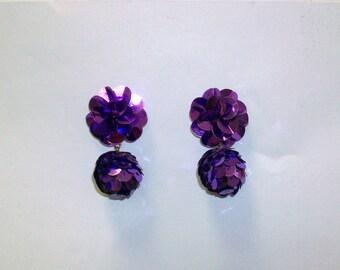 Vintage Purple Sequin Earrings DEADSTOCK