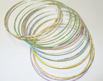 Vintage Set of 18 Stackable Bangle Bracelets DEADSTOCK