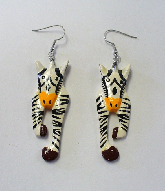 Vintage Painted Wood Zebra Earrings DEADSTOCK