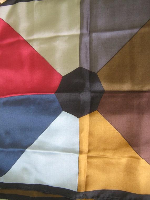 Vintage Scarves Silk Italy Color Block 4 Designs