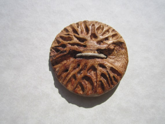 Tree Button- Birdseye Maple Burl Wood Hand Carved Artisan Tree of Life Button