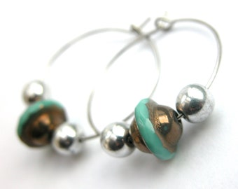 Turquoise bronze czech glass bead and silver hoop earrings