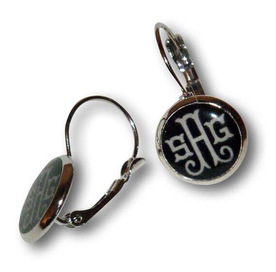 items similar to monogrammed drop earrings on etsy