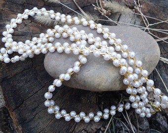 Pearl and Gold Braided Vintage Costume Necklace - 928